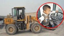 逆天!5岁男孩熟练开铲车挖沙石惊呆众人