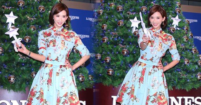 林志玲穿印花裙复古靓丽