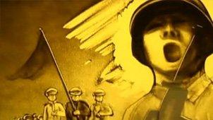 沙画师用沙画演绎抗日战争胜利