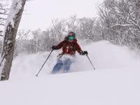 北海道新雪来潮!美女山林间滑雪上演意境之作