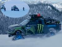 疯狂雪地征途!雪地车与单板达人双飞玩转雪山