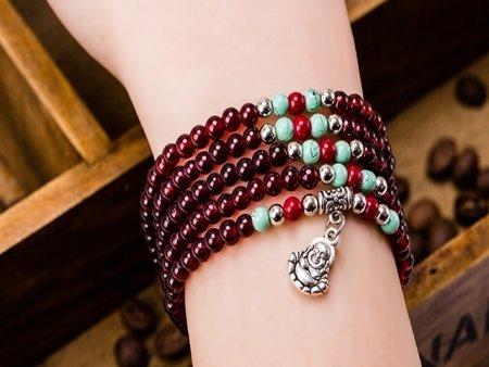 酒红水晶手链