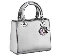 银色小牛皮Lady Dior手袋