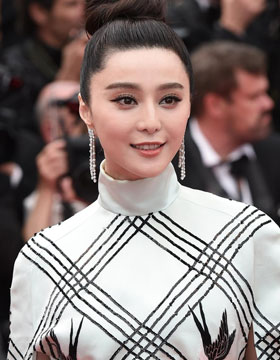 Fan Bingbing Cannes to play with Chinese style, checkered dress dignified atmosphere