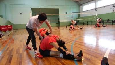 中国女排冠军战前最后一练 快乐训练不变应万变