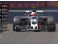马格努森失误冲出赛道 紧急掉头重回赛道