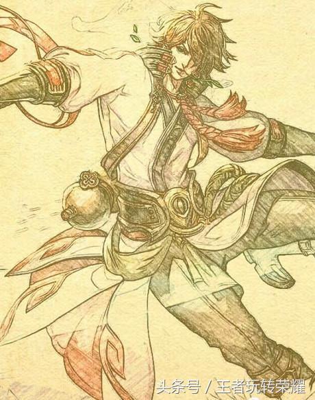 王者荣耀:圆珠笔素描英雄人物,李白大河之剑