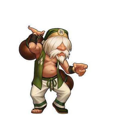 镇元斋是《拳皇》系列中很有特色的中国选手,覆面的长刘海,浓密的白