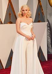 Lady Gaga抹胸长裙