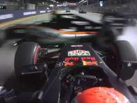 F1新加坡站正赛发车回放:小维斯塔潘起步失误引发连环事故