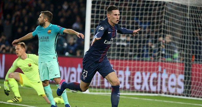 欧冠-巴黎4-0屠杀巴萨-天使两球小德卡瓦尼建功