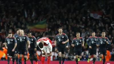 【拜仁次回合】沃尔科特破门比达尔双响 阿森纳总比分2-10遭血洗