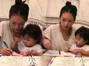 章子怡背台词不忘带娃 抱着女儿醒醒一起画画