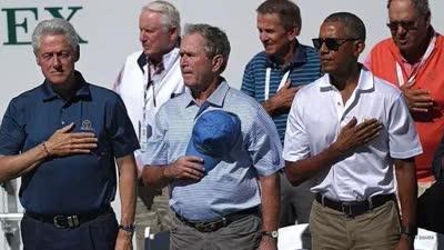 高尔夫总统杯首日 克林顿、小布什、奥巴马现场助阵