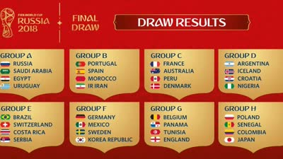 2018世界杯小组赛抽签:西葡大战 比利时战英格兰