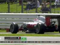 再退!F1英国站正赛:格罗斯让路边停车退赛