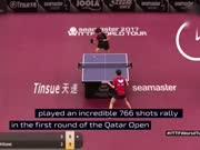 766个回合!乒乓比赛史上最长对局诞生