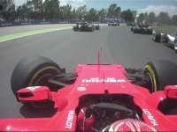 发车圈碰撞车载镜头 头哥冲出赛道Kimi碰撞退赛