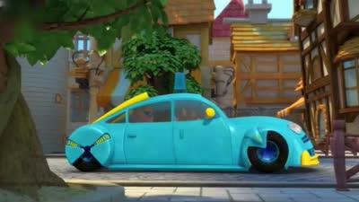 猪猪侠梦想守卫者:出租车开的太慢,还不如玩滑板的孩子快呢