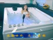 尚雷仕方形经典品质情侣按摩浴缸,约2M双人空间,七彩流光出水渠,洁净恒温泡泡冲浪按摩