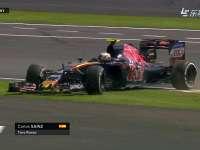 F1英国站正赛:阿隆索塞恩斯失误回放