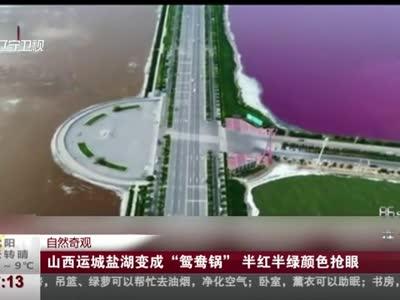 """[视频]自然奇观:山西运城盐湖变成""""鸳鸯锅"""" 半红半绿颜色抢眼"""
