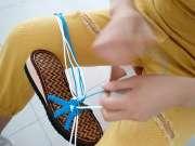 酷爱手工编织坊 蓝色珍珠凉鞋