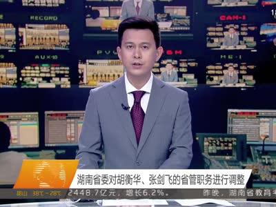 湖南省委对胡衡华、张剑飞的省管职务进行调整