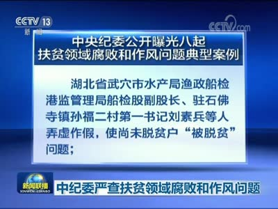 [视频]中纪委严查扶贫领域腐败和作风问题