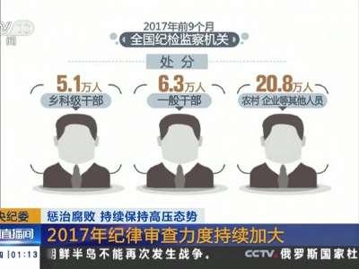 [视频]中央纪委: 惩治腐败 持续保持高压态势 2017年纪律审查力度持续加大