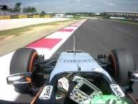 F1马来西亚站FP1 霍肯伯格出弯过快 冲入缓冲区