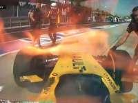 F1马来西亚站FP1:马格努森赛车着火回放