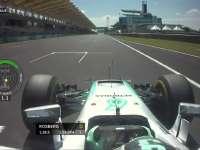 F1马来西亚站FP2 车队提醒罗斯伯格左后胎温度稍高