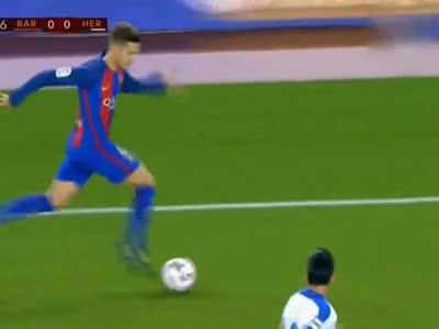 [视频]新援处子球图兰戴帽 巴萨7-0晋级