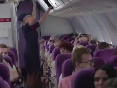 空姐在飞机上教乘客怎么用tt