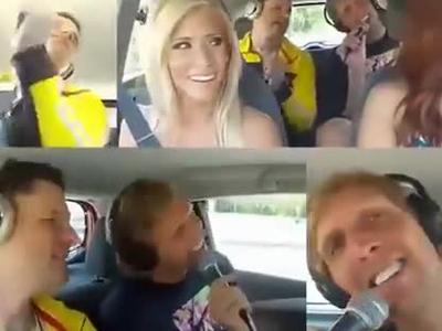 啦啦队美女开车巡街 德克搭啦啦队美女开车逛街